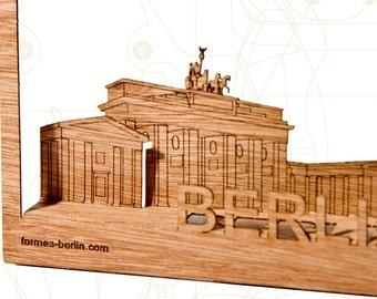 postcard wood - 3 Berlin / Brandenburger Gate cards