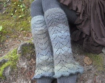 Lace Leg Warmers, Knit Leg Warmers, Lace Boot Socks, Women's Leg Warmers, Blue Leg Warmers, Made To Order