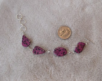 Handcrafted SS Marked 925 Bracelet-Purple Dalmantione