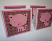 Set of 4 Mini Pink Kitty Cards