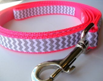 Chevron Dog Leash, available in neon pink, neon green, teal, or purple