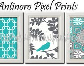 Turquoise Grey Ikat / Bird  Print Vintage / Modern inspired Art  -Set of 3 - 8 x 11 Prints - Turquoise White Color (UNFRAMED)