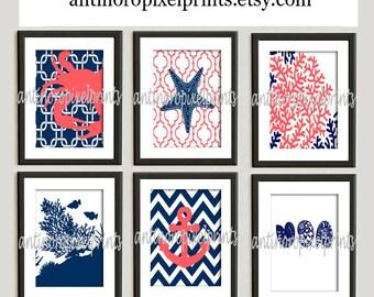 Digital Print Beach House Prints Navy Blue Coral White Wall Art Vintage / Modern Inspired -Set of (6) -8x10 Prints -  (UNFRAMED)