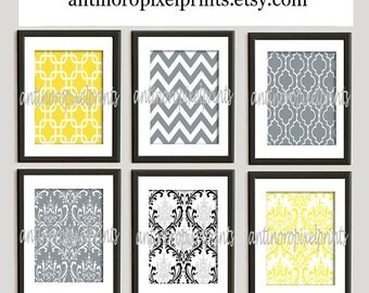 Home Decor Vintage / Modern inspired Art Prints Collection -Set of 6 - 8x11 Prints  - Featured in Yellow Grey  (UNFRAMED)