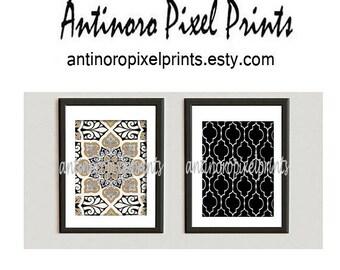 Wall Art Khaki Black Grey White Wall Art Ikat Inspired Wall Art Prints Collection Set of  (2)  - 8x10 Print - (UNFRAMED)