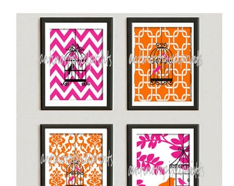 Bird Art Pink Orange Vintage Modern Bird Art Prints Collection - Set of 4 - 8x10 Prints -   (UNFRAMED)