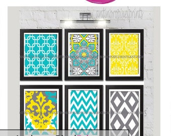 Wall Art Prints Yellow Aqua Grey Vintage / Modern inspired  Art Prints Collection  -Set of (6) - 8x10 Prints -   (UNFRAMED)
