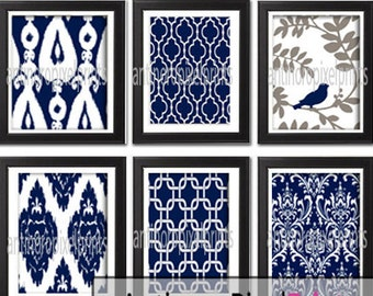 Navy White Grey Vintage / Modern inspired  Art Prints Collection -Set of 6 - 8x10 Prints -   (UNFRAMED)