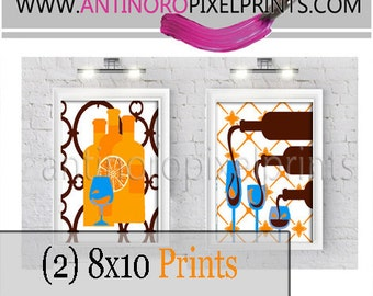 Orange Blue Brown Wine Glasses Kitchen Wall Art, (2) 8x10 Prints, Custom Colors Sizes Available (Unframed)