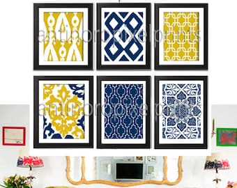 Navy Dark Yellow Vintage Modern inspired Art Prints Collection  -Set of (6) - 8x10 Prints - (UNFRAMED)