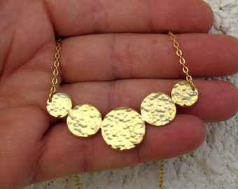 Discs necklace, Hammered  5 gold endless circles , discs pendant