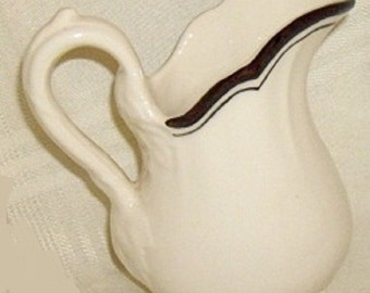 Antique Creamer, Victorian Pitcher, gravy boat, Art Nouveau china, classic black and white china