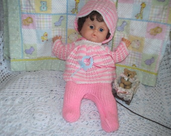 Doll binky Vintage Doll, Vintage Doll with binky,  Vintage Baby Doll, Dark Haired Doll,Doll in  Pink White Knitted Outfit /Binky :)S