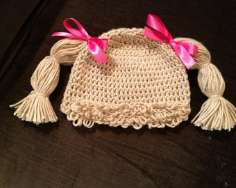 Baby girl adorable Cabbage Patch hat complete with hair/wig and thick pigtails crocheted and loopy bangs