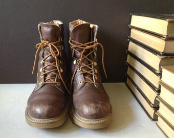 Vtg Distressed Brown Leather Sub Zero Combat Boots // Men Size 8 US