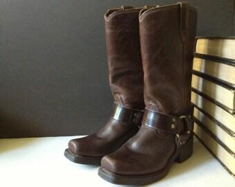Durango Brown Leather Boots, Biker, Harness, Size 5,5 B US