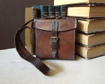 Brown Leather Camera Case Bag, Vintage England Leather Handbag, Leather Crossbody Bag