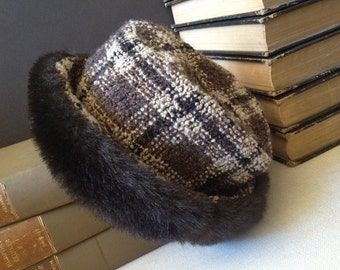 Vtg Italy // Wool & Faux Fur Derby Hat // Brown Plaid