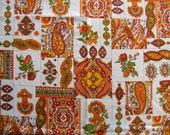 Vintage 60s Paisley Fabric Tangerine Orange Olive Green Beige Rose Flower Ethnic Psychedelic Paisley Floral Mod Print Cotton Bark Weave CBF