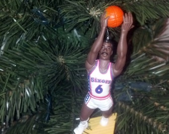 Dr. J Julius Erving Philadelphia 76ers custom basketball christmas sports ornament