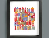 Little Houses abstract print, Folk Art, Nursery print, Mid century modern, Retro Poster, Nursery Wall Art, House Print, Home Decor, Wall Art