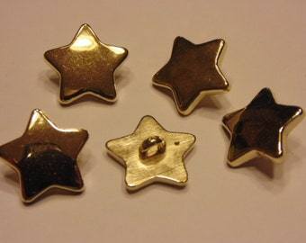 5 gold color star buttons, 17 mm (B4)