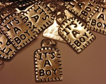"4 count "" Its a boy"" charms, 15 x 22 mm (10)"