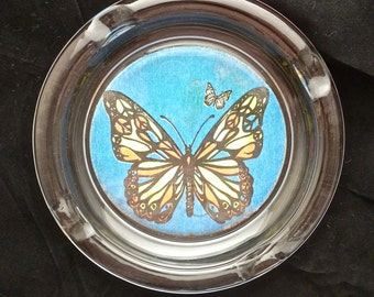 Vintage 1960's Ashtray,   Psychedelic Butterfly Vintage Glass Ashtray, Peace Signs, Hippie Tobacco, Fun Retro Gift