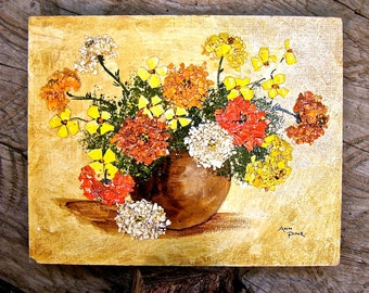Rare Kitsch Art, Oil on Board, Egg Shell Petals, Original Mixed-Media, Ann Pine Artist, Vintage Signed Painting, 1970's 3-D Collage,
