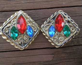 Vintage Clip Earrings, Gold Toned Square Shape, Red, Green and Blue Rhinestones