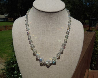 Vintage Glass Necklace, Sparkling Glass Beads, 18 Inches Long, Pretty.
