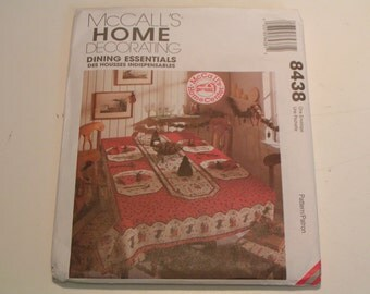 McCalls Pattern 8438 Home Decorating Dining Essentials