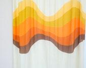 Vintage Modern Retro 70s Orange And Brown Shower Curtain