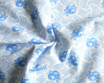 french vintage fabric  patchwork fabric  blue floral fabric blue flowers french fabric blue roses fabric128