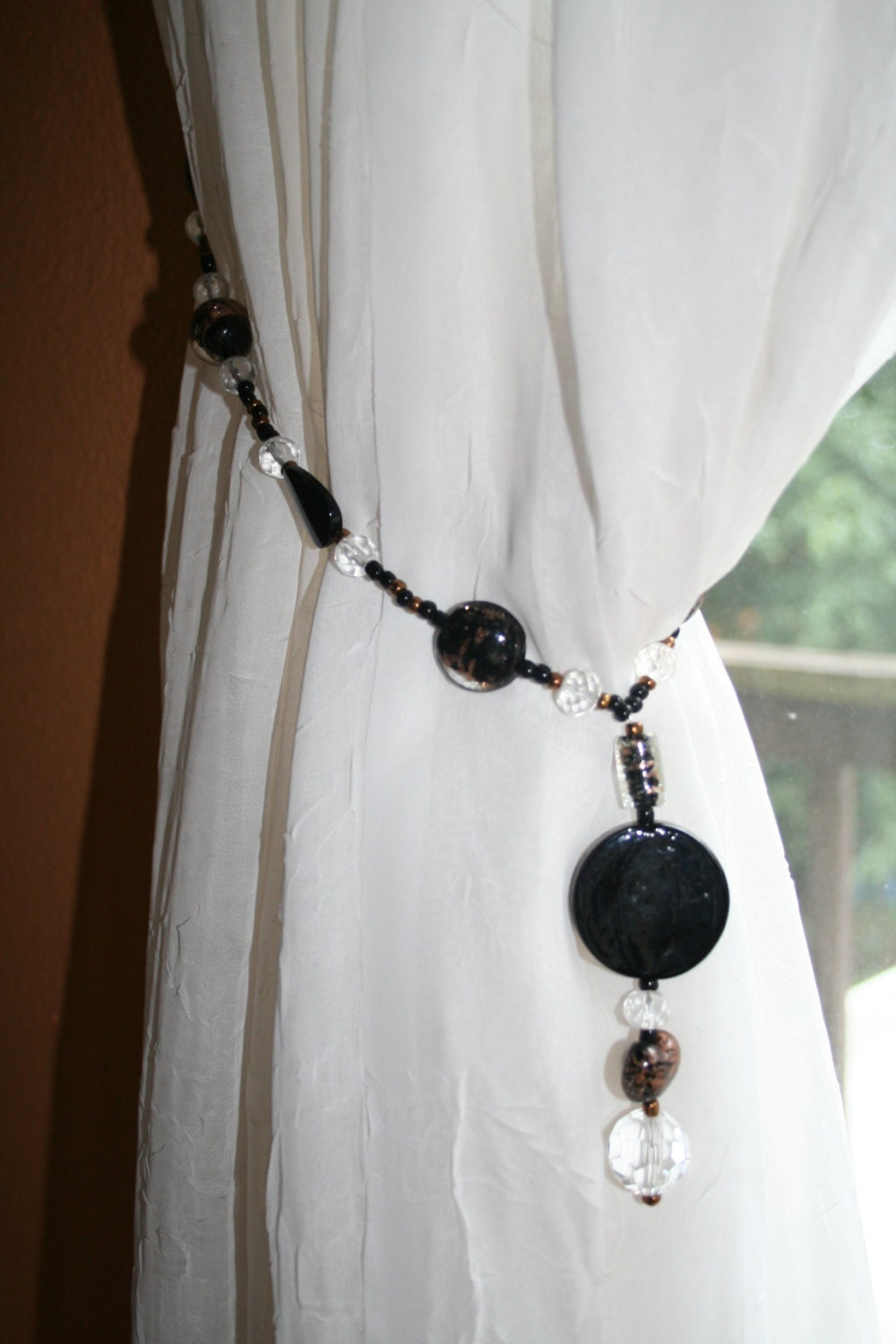 free shipping curtain tie backs glass beaded tiebacks black