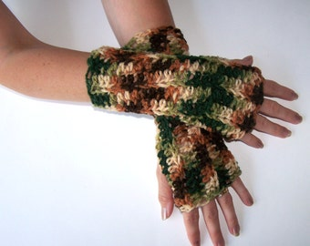 Camouflage Unisex Fingerless Gloves-hand crocheted