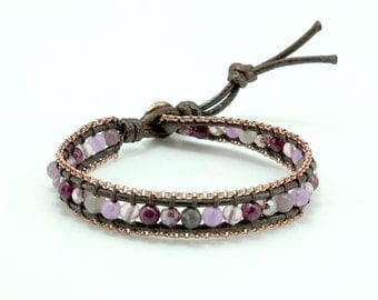 Amethyst,agate,crystal,pink gold plated chain,wrapped on leather bracelet.