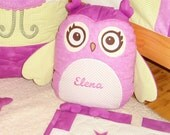 Organic Owl Pillow,  Owl TOY Stuffed Animal Softie  Al Heart Owl Pillow