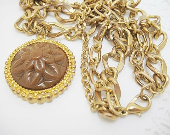 Estrucian Style Heavy Three Chain Pendant with Medallion