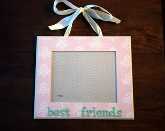 8x10 hanging best friends damask print picture frame