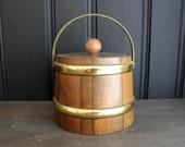 Vintage Wooden Barrel Ice Bucket