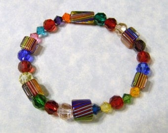 Red-based Rainbow Furnace Bead and Crystal Stretch Bracelet