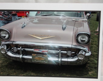 photo card, classic car photo, 1957 chevy pink, photography
