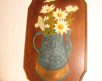 Vintage Painted Daisy's Wall Plaque-signed