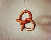 Gold dipped pretzel necklace
