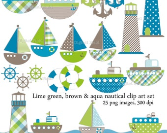 Nautical Clip Art Set - 25 lime green, brown and aqua printable digital clipart images - instant download