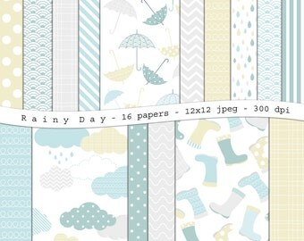 Rainy Day - digital scrapbooking paper pack -16 printable jpeg papers, 12x12, 300 dpi - instant download