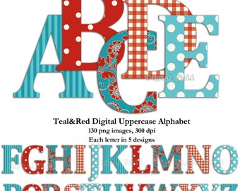 Red and teal uppercase alphabet clip art set -  printable digital letters - instant download