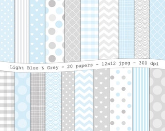 Light Blue and Gray digital scrapbooking paper pack -20 printable jpeg papers, 12x12, 300 dpi - instant download