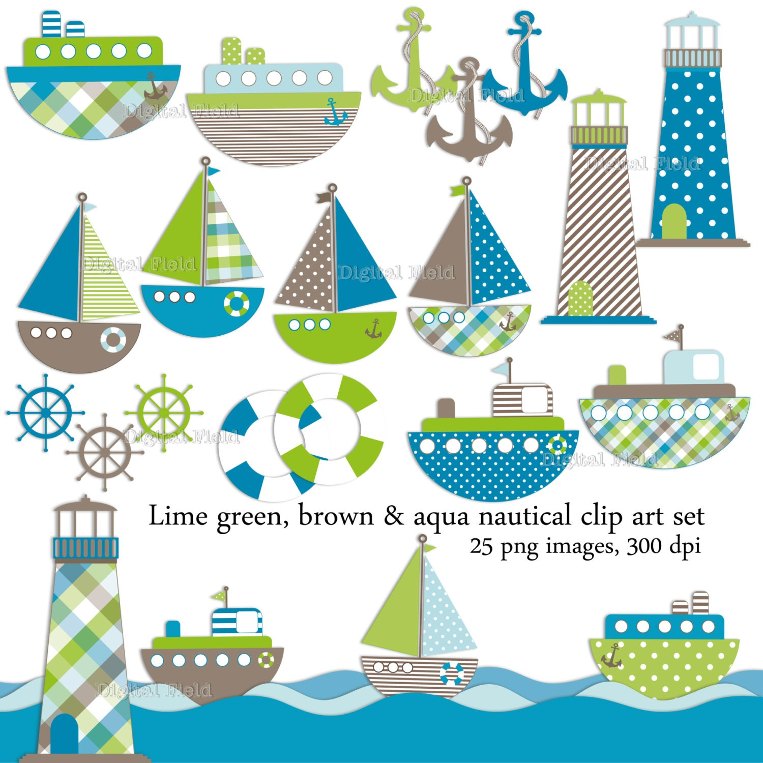 Nautical Clip Art Set 25 lime green brown and aqua